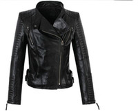 Wholesale High Quality Leather Coats Women - Crazy promotion european for the women's high quality sheepskin motorcycle jacket 100% genuine leather clothing coat fashion red S - 3XL