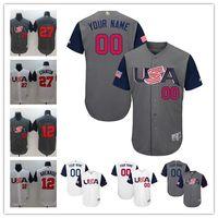 Wholesale Cheap Custom Team Jerseys - cheap Mens Custom stitched WBC Team USA #12 Nolan Arenado 27 Giancarlo Stanton Gray 2017 World Baseball Classic white Personalized Jerseys S