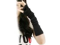 Wholesale Long Arm Warm Gloves - Wholesale- 2015 NEW Black fingerless Long glove mitten gloves gril women's braided knit Arm Leg Leisure warmer