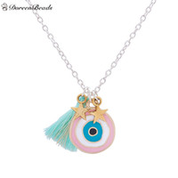 Wholesale evil eye green - Wholesale-DoreenBeads Handmade Bohemia Turkey Evil Eye Pendants Necklace Mint Green Tassel Gold Star Fashion Jewelry 44.5cm 1 Piece
