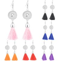 Wholesale copper earring fittings online - Noosa Earrings Round Pink Blue Black Dark Purple Red Orange Tassels Dangle Snap Buttons Earrings Styles Fits DIY Snap Buttons N509Q