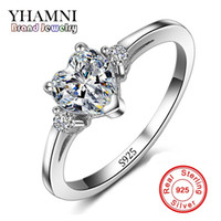 Wholesale fine indian jewelry - Promotion!!! Wholesale Real 925 Silver Heart Wedding Ring Fine Jewelry Inlay Heart CZ Diamant Engagement Rings For Women RX008