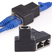 Wholesale Ethernet Lan Network Cable - 1 To 2 Ways RJ45 LAN Ethernet Network Cable Female Splitter Connector Adapter