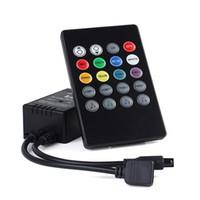 led 24 anahtar denetleyicisi toptan satış-20 tuşları led müzik denetleyicisi IR uzaktan kablosuz rgb denetleyici DC 12 V-24 V Için RGB 5050 3528 smd LED Şerit
