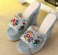 Wholesale Sexy Colorful Wedges - 2017 bohemian style colorful rhinestones wedges beach sandals denim high heel platform slippers sexy beaded shoes women casual sandals
