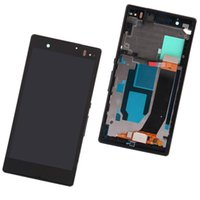 Wholesale Xperia Z Lcd - For Sony Xperia Z LCD Digitizer Touch Screen Display With Frame 5.0inch Cellphone Screen Replacement L36h L36 LT36 C6606 C6603 C6602 C6601