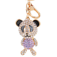 Wholesale Panda Keychains - Bling Bling Crystal Rhinestone Panda Metal Keychain Keyring Car Keychains Purse Charms Handbag Pendant Wedding Gift