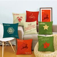 Wholesale Healthy Pillowcases - Hot sale merry christmas cushion cover pillowcase 45cm square bolster cover linen printing pattern bright color healthy material decorative