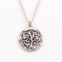 Wholesale Wholesale 18k Love Pendant - 2017 Hot Mom You Are The Heart Of Our Family family Tree Of Life Chain Necklace Fashion Pendant Necklaces N1663 24inches