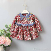Wholesale Novelty Cat Collars - INS styles new Girl kids spring winter long sleeve Triangle Round collar dress full cats print girl charming thick dress girl's dress