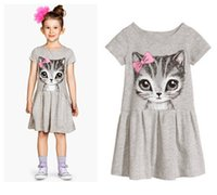 Wholesale Pink Clothes Fashion Model - baby girl dress summer short sleeved fashion 2017 new model girl clothes lovey cat printing