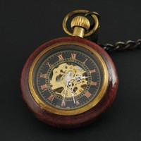 Wholesale Bronze Pocket Watch Mechanical - Wholesale-New Steampunk Retro Archaize Wood&Bronze Roman Num Pendant Mechanical Pocket Watch Men Women
