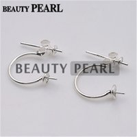 Bulk of 5 Pairs 925 Sterling Silver Jewellery Findings Earstud Front and Back Two Way Pearl Earring Settings