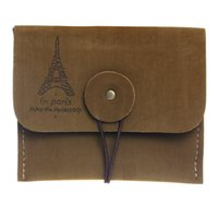 Barato Carteira Estilo Vintage Barato-Atacado- Mulher Vintage Coin Purse Style Retro Paris Torre Zipper Purse Holder carteiras Mini bag Cheap Purses Protable Ladies Small Bags