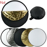 Wholesale 24 quot cm in Portable Collapsible Light Round Photography Reflector for Studio Multi Photo Disc Gold Silver White Black Translucent TK070