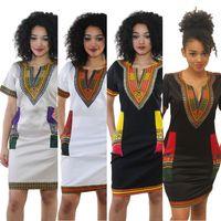 Wholesale traditional ball gowns - New African Mini Dress Fashion Woman Sexy Bohemian Traditional African Print Dashiki Bodycon Dress V-Neck Short Sleeves Tribe Kaftan XXXL
