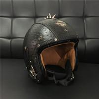 vespa шлем vintage оптовых-2017 для Harley стиль кожа мотоциклетные шлемы старинные скутер реактивный шлем открытое лицо vespa мужской шлем