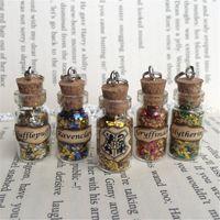 Wholesale Silver House Pendant - 12pcs lot Hogwarts Houses Bottle Necklace Pendant inspired by HP