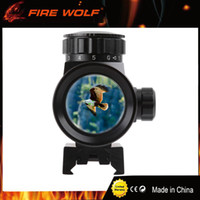 Barato Pontos Vermelhos 11mm-FIRE WOLF 1x40RD Riflescope Tactical Holographic Red Green Dot Sight Scope Project 20 / 11mm Rail Mount para Gun Hunting Airsoft