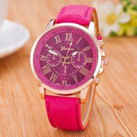 Wholesale Cute Watches For Men - Christmas Luxury Geneva watches Roman Numerals Watch Wrist watch Faux leather Colorful Candy Cute quartz Exquisite wrist For men womens