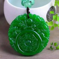Wholesale Carved Jade Accessories - Natural jade carving Dragon Pendant Fashion gossip female models sweater chain pendant jewelry accessories Free shipping
