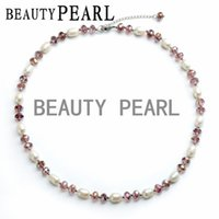 Wholesale Women Pearl Jewelry Rice mm Cultured Freshwater White Pearls with Purple Crystal Necklace Handmade Beaded Necklace