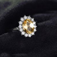 JewelryPalace 2.3ct Princess Diana William Kate Middleton's Natural Citrine Ring 925 Anelli di aggancio d'argento Sterling per le donne