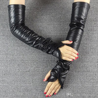 Wholesale Long Leather Gloves Lace - 2016 Time-limited Sale Finger Gloves Black Fur Ms Long Leather Lace Gloves In Winter Cuff Elastic Driving Points Refers To The Package Mail