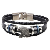 punk-leder geflochtene manschettenarmbänder großhandel-Wachs Armband Femme Vintage Punk Männlichen Männer Rock Eagle Head Tibetischen Charme Multilayer Weave Leder Armband Manschette Geflochtenes Bangle Bijouterie Hot