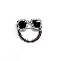 Wholesale Wholesale Eyeglass Pin Holders - Wholesale- New designer crystals black enamel charm eyeglasses holder pin brooch badge fashion jewelry 6pcs lot free shipping