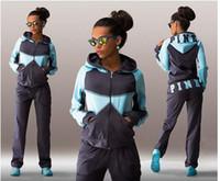 Wholesale Jogging Pants For Women Blue - Spring Sports Suit Jogging Suits For Women Letter Pink Print Sport Suit Hoodies Sweatshirt +Pant Jogging Sportswear Costume 2 piece Set