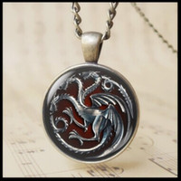 South American blood the jewelry - 3D Targaryen Fire and Blood Cabochon Glass Pendant Necklace The Game of Thrones jewelry Red Fire Dragon Crest Bage Charm necklae T1020