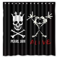 Wholesale Pearl Curtains - Custom Pearl Jam Skull Logo Fans Printed Size 180cmx180cm 100% Waterproof Polyester Shower Curtain