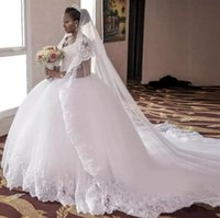 Wholesale Modest New Arrivals Tulle And Lace Ball Gown Wedding Dresses Long Cheap V Neck Applique Beaded Chapel Train Bridal Gowns EN3174