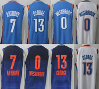 Wholesale Drawstring Top - Top quality Mens 13# paul george jersey Thunder#7 Carmelo Anthony 0 Russell Westbrook 2017-18 New jerseys 100% Stitched Mixed order