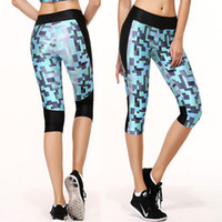 Wholesale Women s Fashion Building Blocks Printed Yoga Capris Tight Sports Pants Running Leggings Fitness Pants GYM Skinny Capris Yoga