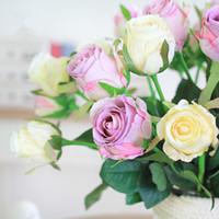 Wholesale German Flowers - German spur artificial roses silk Lover roses flower gift wedding decorative flowers bouquet room table decoration 15pcs lot