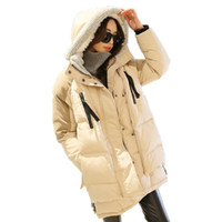 Wholesale Winter Duck Down Coats Women Loose Medium long Hooded Jacket Casual Military Parkas Overcoat Thickening Plus Size Snowwear