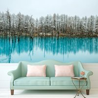 Wholesale Wall Painting Custom Any Size Large Wallpaper for Living Room Lake water with Pine Trees Art Photography Europe Mural Home Decor