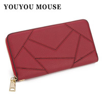 Wholesale Folding Mouse - YOUYOU MOUSE High Quality Women's Wallet Long PU Leather 2 Fold Ladies Money Wallet Solid Color Splicing Woman Card Holder Purse