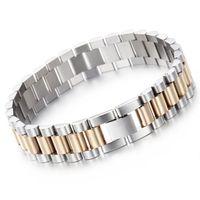 correas de reloj de la joyería al por mayor-10mm / 15mm Luxury Mens Womens Hiphop Watch Band Biker Pulsera de oro plata punky ajustable correa de acero inoxidable 316L brazaletes de la joyería