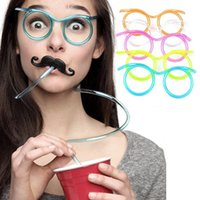 Plastic ECO Friendly other Funny Soft Plastic Straw Glasses Flexible colorful drinking straws Tube tools Kids party Bar baby Birthday Party