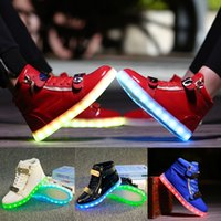 Wholesale 46 Led - Unisex Led Shoes Couples Glowing Flats For Casual Walking Light Up Luminous Fashion Sneakers 2016 Black Red White Size 35-46