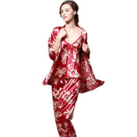 Wholesale Sleepwear Pajama Pants Woman - 3 Pcs set Luxury Silk Women Pajama Robe Pants Fashion Ladies Sleepwear Long Sleeve Female Camisole Nightgown Sets Print Dress 5 Colors