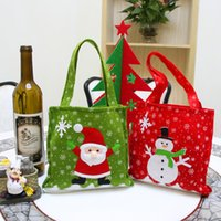 Wholesale Christmas Tree Plastic Bags - Christmas Gifts handbag Tote Small Candy Santa Claus Snowman Bag for Children Kids Party Decoration IC550