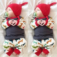 Wholesale Deer Jumpers - Christmas Outfits Three pieces Baby Girls Cotton Jumper T-shits with Deer Pants with caps 2017 Baby Autumn Clothing