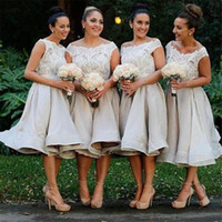 Wholesale Affordable Black Ball Gowns - Morden Cap Sleeve Lace Organza Knee-Length On Sale Short Affordable Bridesmaid Dresses Ball Gown Off-the-shoulder Party Gowns