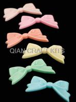 Wholesale Large Cabochons - 80pcs big Kawaii resin Bow flatback cabochons assorted colors Gothic 50*26mm large bows