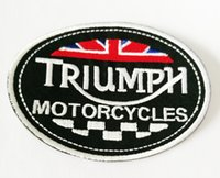 Wholesale motorcycle triumph - M.C 10*7 cm The Classical Union Flag MOTORCYCLES TRIUMPH Embroidery Patch Iron on Patch for Clothes