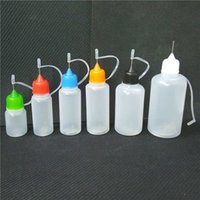 Wholesale E Liquid Filled Bottles - Needle Plastic E Liquid Bottle 5ml 10ml 15ml 20ml 30ml 50ml PE Vapor Juice Oil Bottle with Colorful Pin-hole Cap Tips Lid Fill